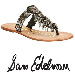 Sam Edelman Anella Beaded Sandal 8.5 Black Gold